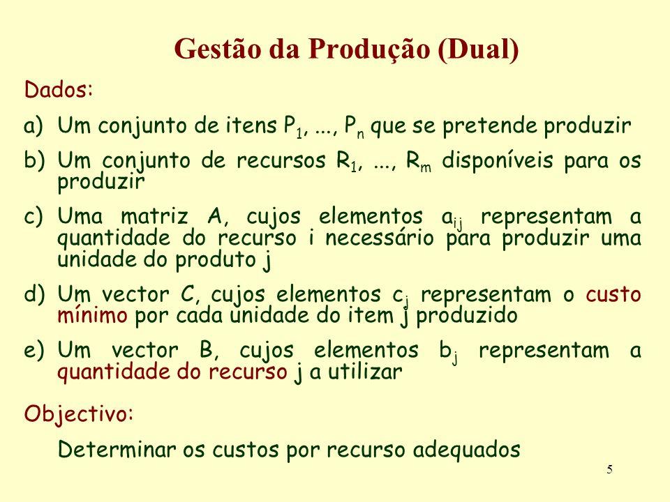 6 Gestão da Produção (Dual) Gestão 0d: Restrições Base Designando por Y j o custo incorrido por cada unidade do recurso j gasto, as restrições que impõe um custo mínimo por unidade de item i produzido são modeladas por a 11 Y 1 + a 21 Y 2 +...