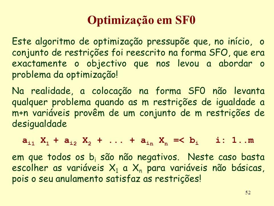 52 Este algoritmo de optimização pressupõe que, no início, o conjunto de restrições foi reescrito na forma SFO, que era exactamente o objectivo que no