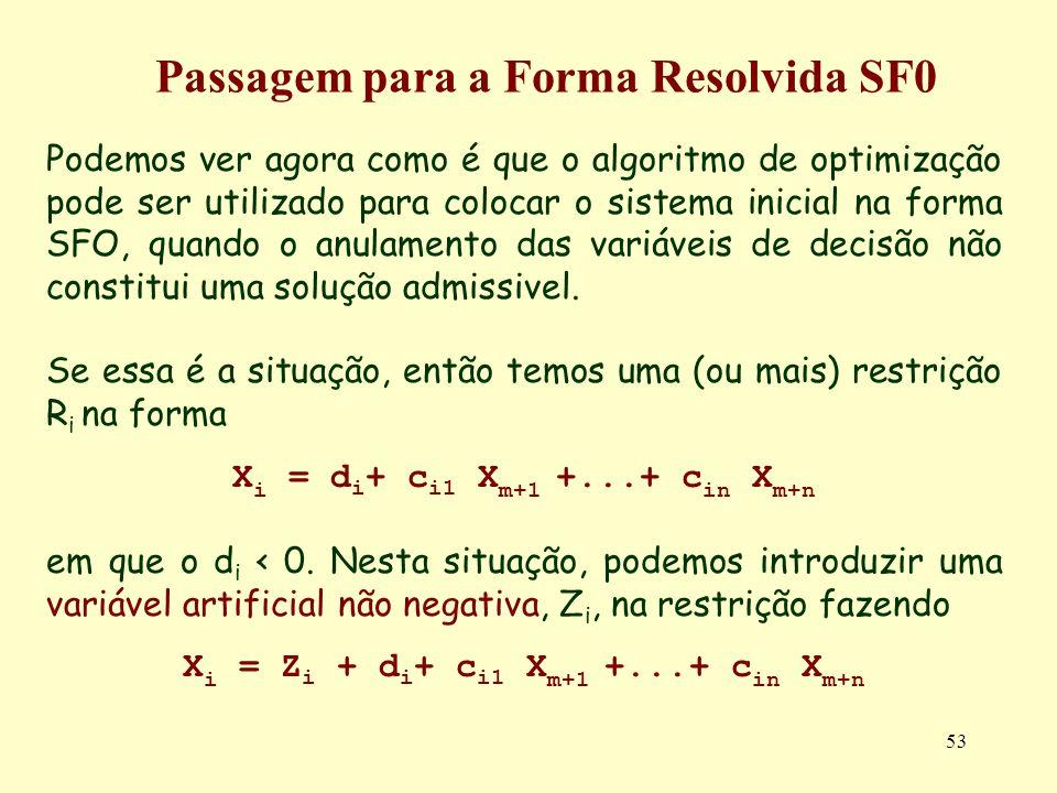 53 Podemos ver agora como é que o algoritmo de optimização pode ser utilizado para colocar o sistema inicial na forma SFO, quando o anulamento das var