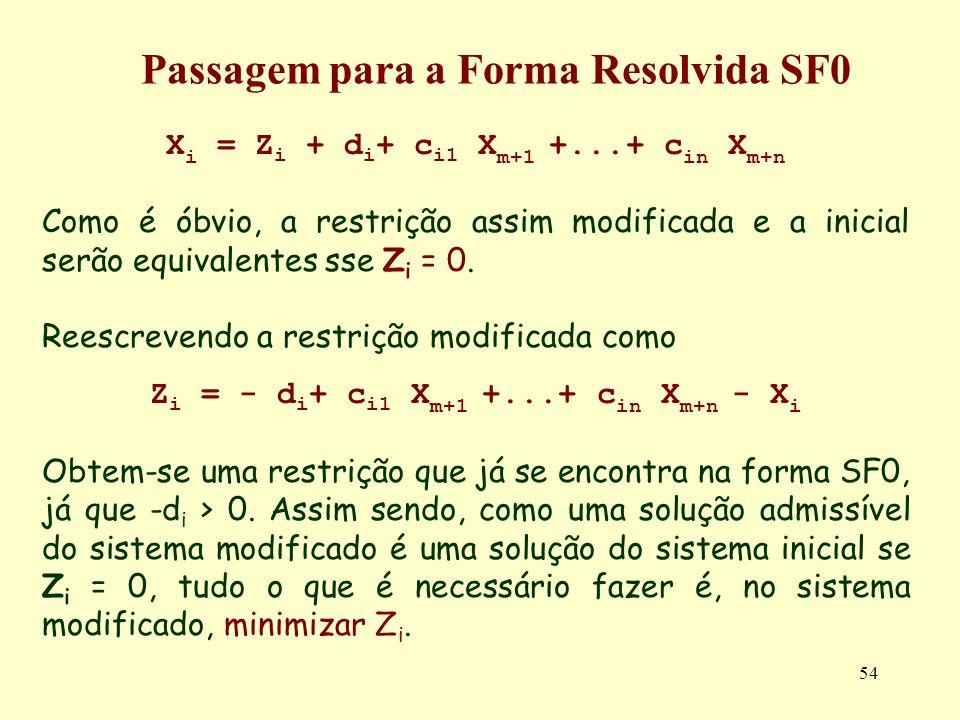 54 X i = Z i + d i + c i1 X m+1 +...+ c in X m+n Como é óbvio, a restrição assim modificada e a inicial serão equivalentes sse Z i = 0. Reescrevendo a