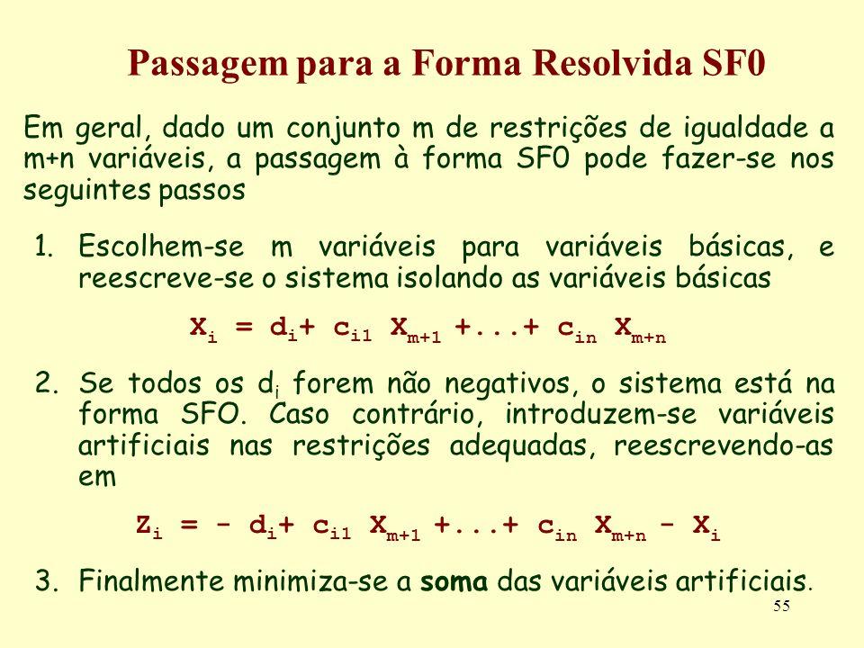 55 Em geral, dado um conjunto m de restrições de igualdade a m+n variáveis, a passagem à forma SF0 pode fazer-se nos seguintes passos 1.Escolhem-se m