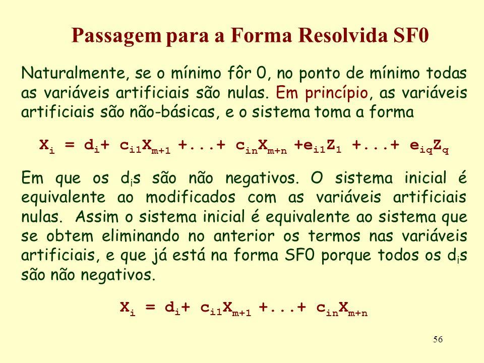 56 Naturalmente, se o mínimo fôr 0, no ponto de mínimo todas as variáveis artificiais são nulas. Em princípio, as variáveis artificiais são não-básica