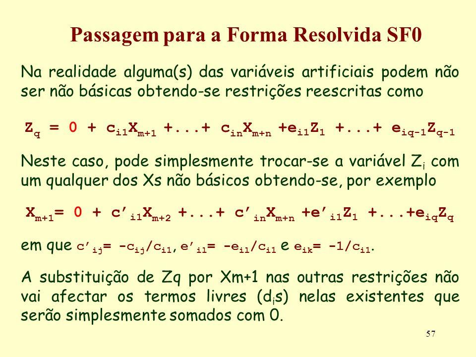 57 Na realidade alguma(s) das variáveis artificiais podem não ser não básicas obtendo-se restrições reescritas como Z q = 0 + c i1 X m+1 +...+ c in X