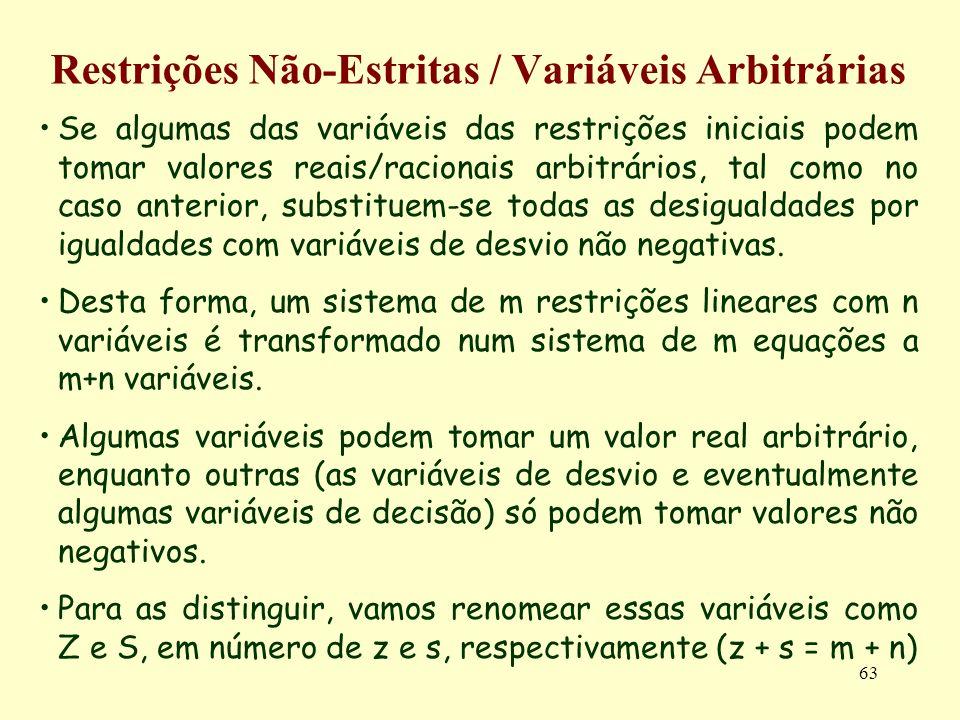 63 Restrições Não-Estritas / Variáveis Arbitrárias Se algumas das variáveis das restrições iniciais podem tomar valores reais/racionais arbitrários, t