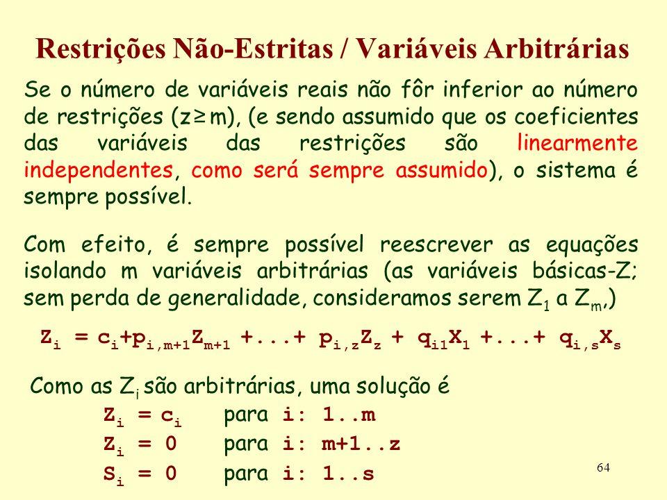 64 Restrições Não-Estritas / Variáveis Arbitrárias Se o número de variáveis reais não fôr inferior ao número de restrições (z m), (e sendo assumido qu