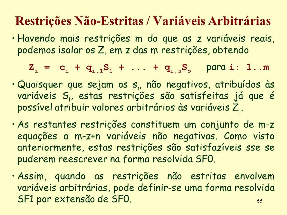65 Restrições Não-Estritas / Variáveis Arbitrárias Havendo mais restrições m do que as z variáveis reais, podemos isolar os Z i em z das m restrições,