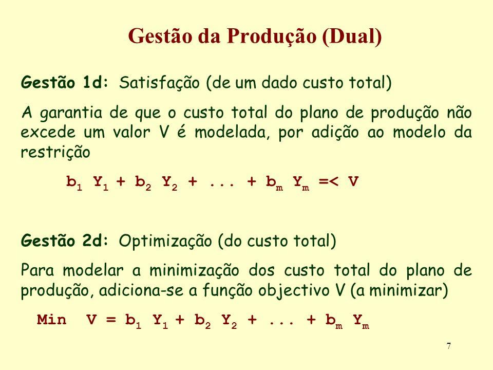 7 Gestão da Produção (Dual) Gestão 1d: Satisfação (de um dado custo total) A garantia de que o custo total do plano de produção não excede um valor V