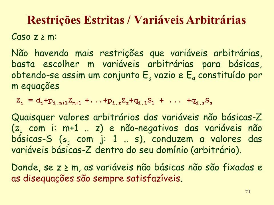 71 Restrições Estritas / Variáveis Arbitrárias Caso z m: Não havendo mais restrições que variáveis arbitrárias, basta escolher m variáveis arbitrárias