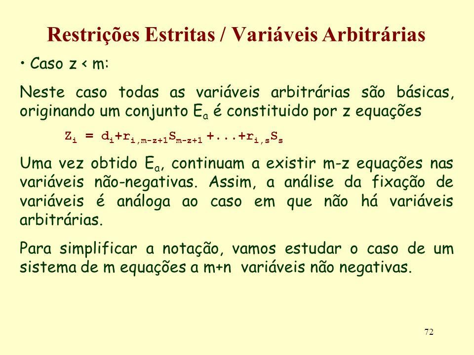 72 Restrições Estritas / Variáveis Arbitrárias Caso z < m: Neste caso todas as variáveis arbitrárias são básicas, originando um conjunto E a é constit
