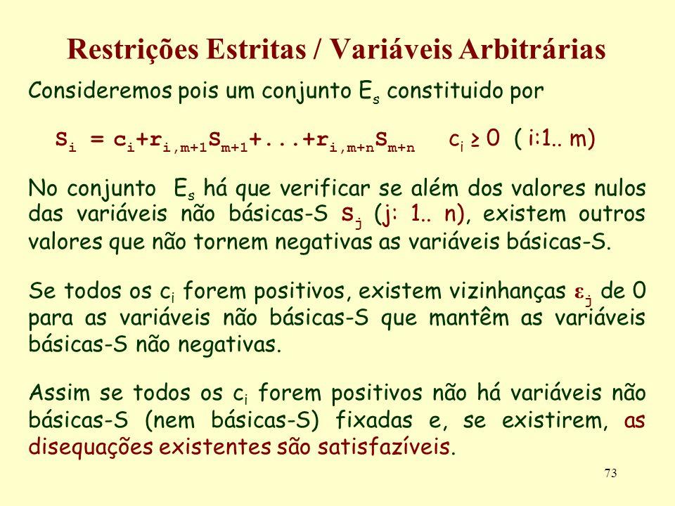 73 Restrições Estritas / Variáveis Arbitrárias Consideremos pois um conjunto E s constituido por S i = c i +r i,m+1 S m+1 +...+r i,m+n S m+n c i 0 ( i