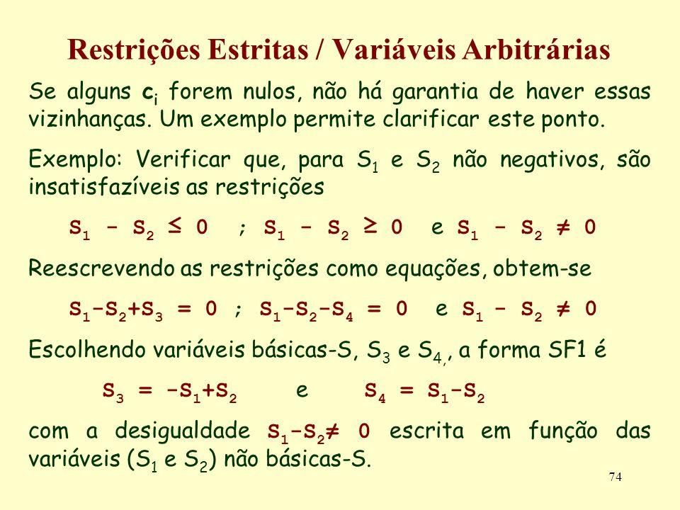 74 Restrições Estritas / Variáveis Arbitrárias Se alguns c i forem nulos, não há garantia de haver essas vizinhanças. Um exemplo permite clarificar es