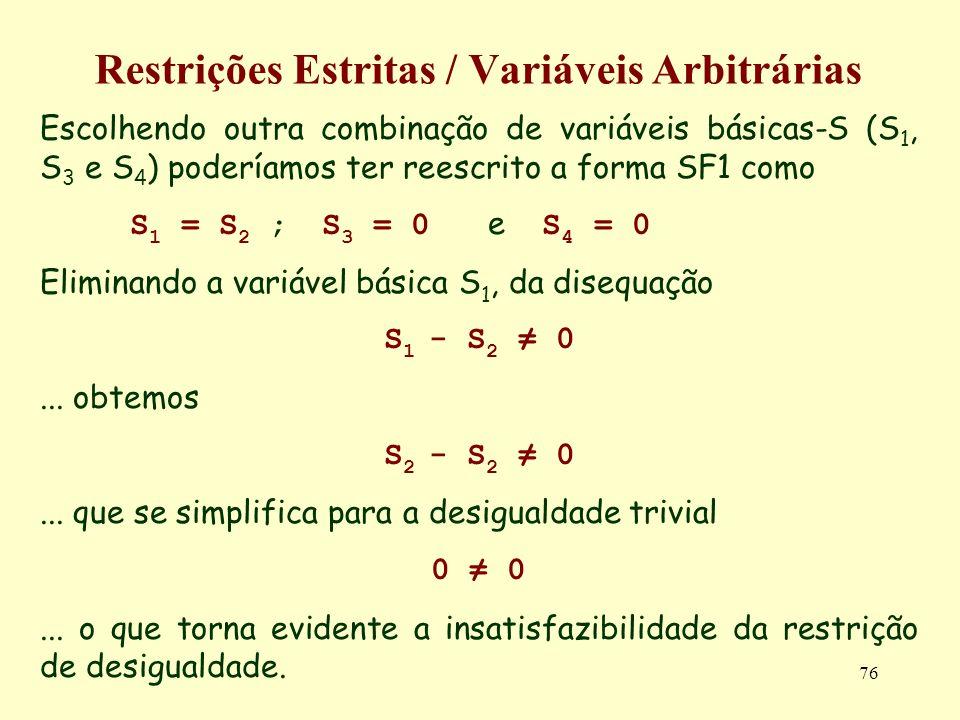 76 Restrições Estritas / Variáveis Arbitrárias Escolhendo outra combinação de variáveis básicas-S (S 1, S 3 e S 4 ) poderíamos ter reescrito a forma S