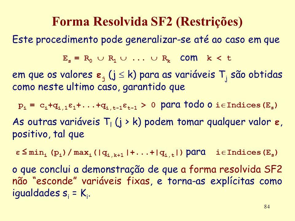 84 Forma Resolvida SF2 (Restrições) Este procedimento pode generalizar-se até ao caso em que E s = R 0 R 1... R k com k < t em que os valores ε j (j k