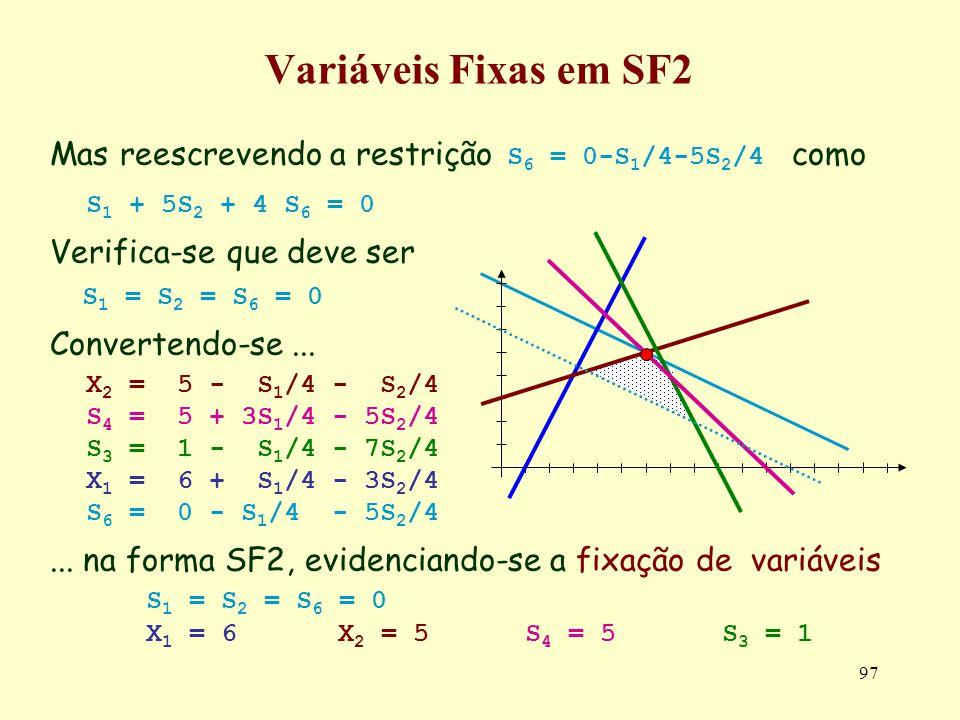 97 Variáveis Fixas em SF2 Mas reescrevendo a restrição S 6 = 0-S 1 /4-5S 2 /4 como S 1 + 5S 2 + 4 S 6 = 0 Verifica-se que deve ser S 1 = S 2 = S 6 = 0