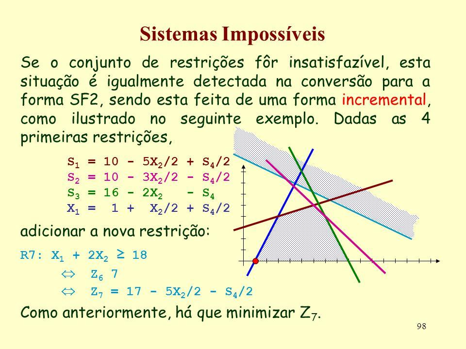98 Sistemas Impossíveis Se o conjunto de restrições fôr insatisfazível, esta situação é igualmente detectada na conversão para a forma SF2, sendo esta