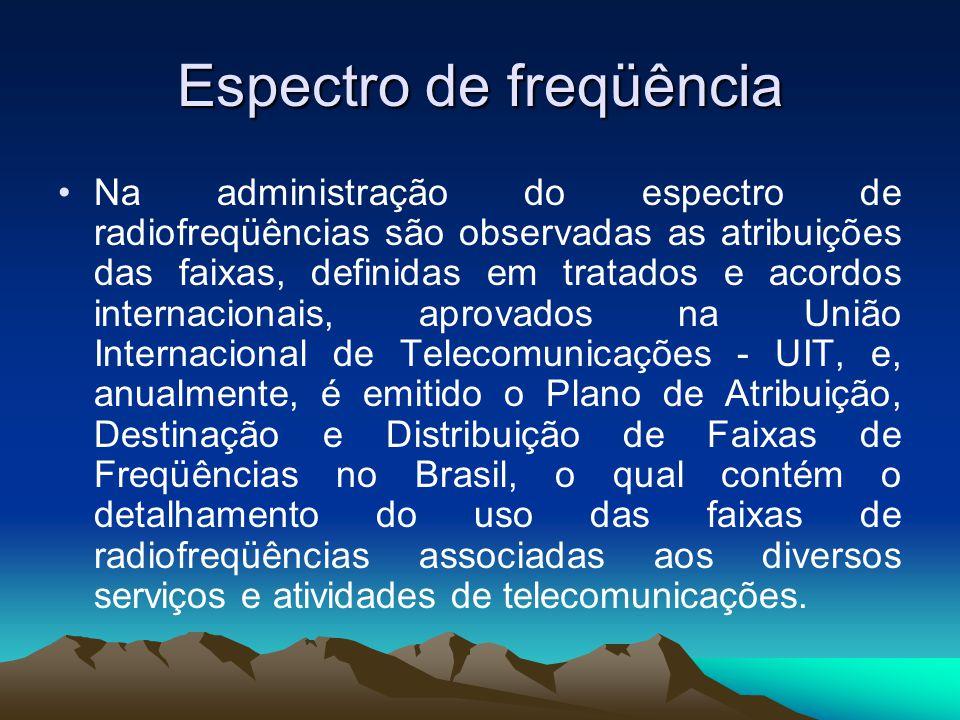 Espectro de freqüência Na administração do espectro de radiofreqüências são observadas as atribuições das faixas, definidas em tratados e acordos internacionais, aprovados na União Internacional de Telecomunicações - UIT, e, anualmente, é emitido o Plano de Atribuição, Destinação e Distribuição de Faixas de Freqüências no Brasil, o qual contém o detalhamento do uso das faixas de radiofreqüências associadas aos diversos serviços e atividades de telecomunicações.