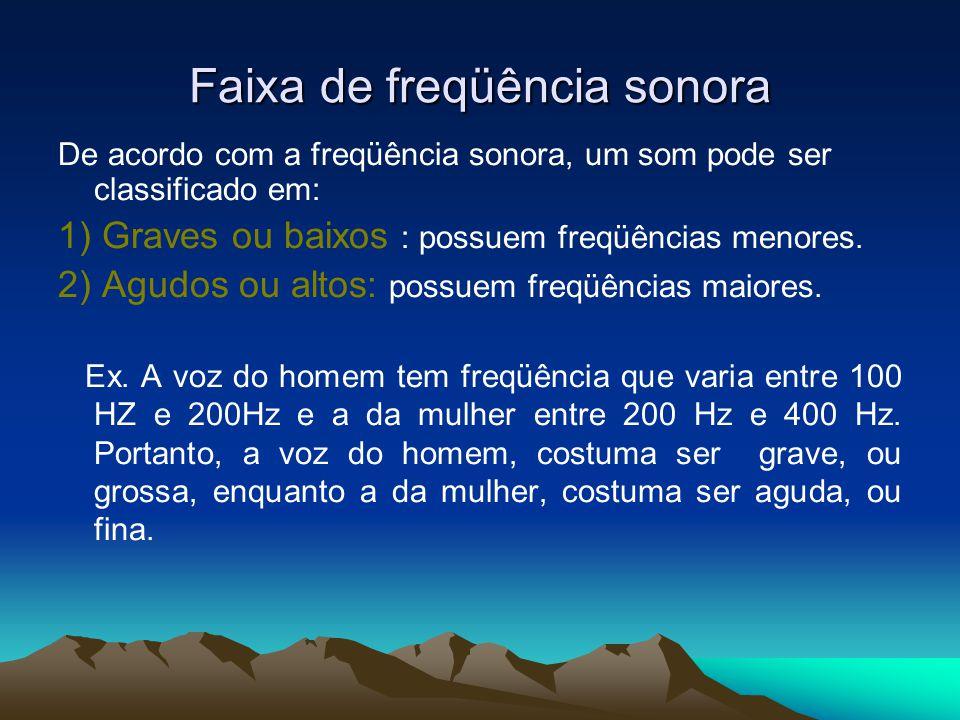 Faixa de freqüência sonora De acordo com a freqüência sonora, um som pode ser classificado em: 1) Graves ou baixos : possuem freqüências menores. 2) A
