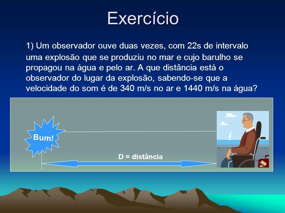 Exercício 1) Um observador ouve duas vezes, com 22s de intervalo uma explosão que se produziu no mar e cujo barulho se propagou na água e pelo ar.