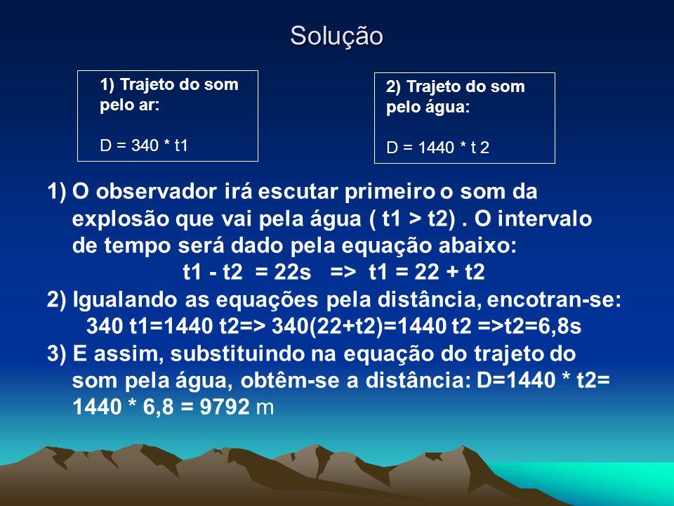 Solução 1) Trajeto do som pelo ar: D = 340 * t1 2) Trajeto do som pelo água: D = 1440 * t 2 1)O observador irá escutar primeiro o som da explosão que vai pela água ( t1 > t2).