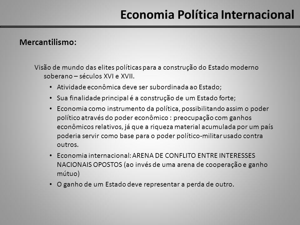 Economia Política Internacional Mercantilismo: Visão de mundo das elites políticas para a construção do Estado moderno soberano – séculos XVI e XVII.