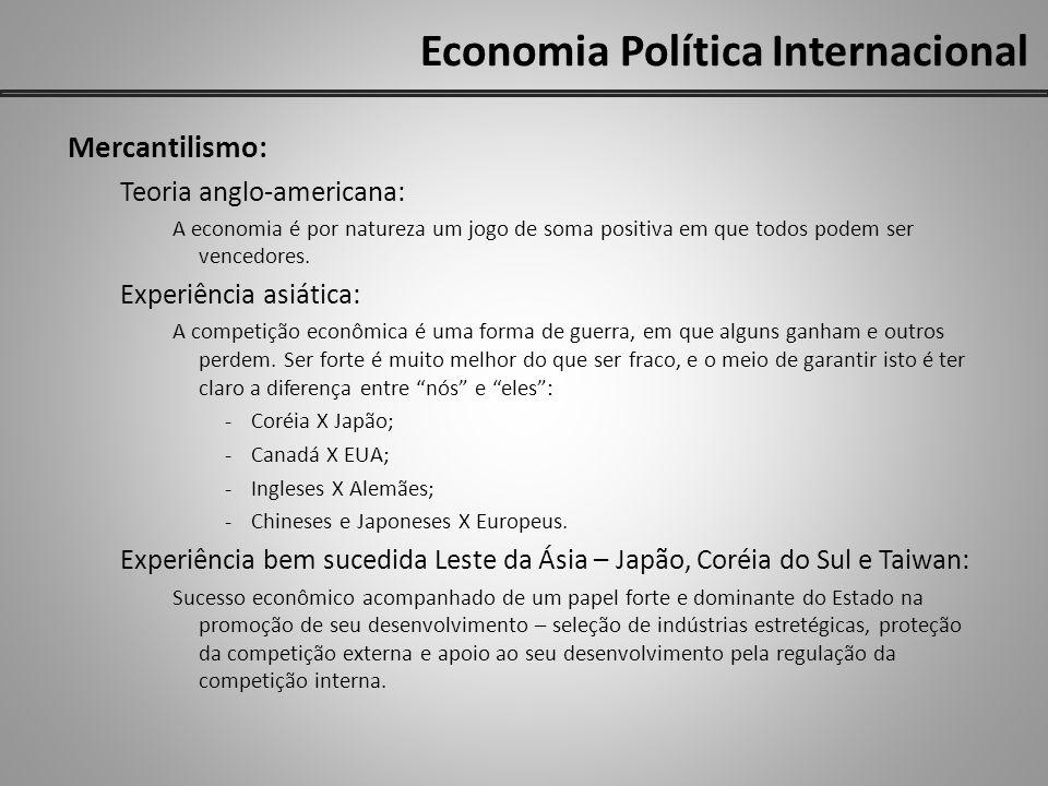 Economia Política Internacional Mercantilismo: Teoria anglo-americana: A economia é por natureza um jogo de soma positiva em que todos podem ser vence