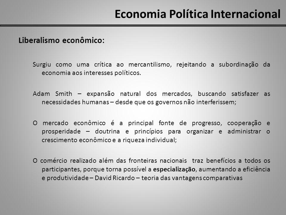 Economia Política Internacional Liberalismo econômico: Surgiu como uma crítica ao mercantilismo, rejeitando a subordinação da economia aos interesses