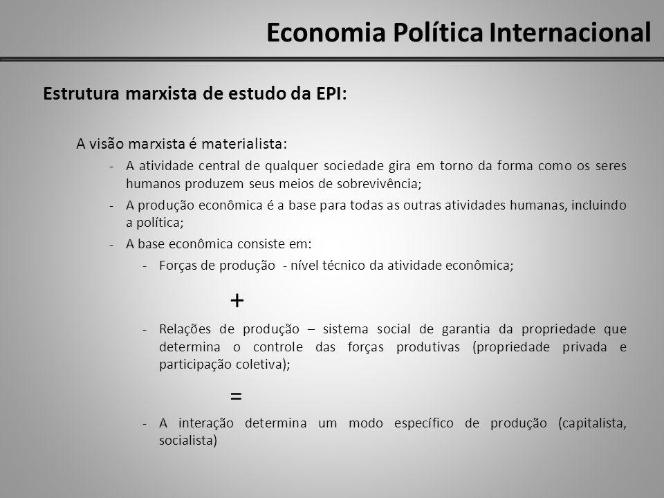 Economia Política Internacional Estrutura marxista de estudo da EPI: A visão marxista é materialista: -A atividade central de qualquer sociedade gira