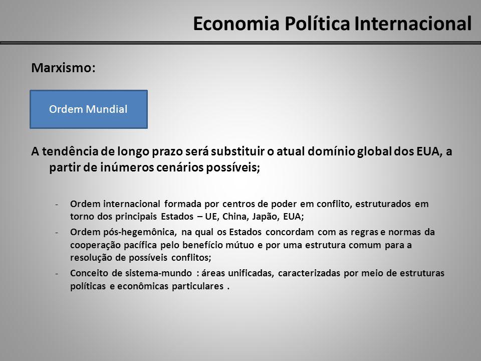 Economia Política Internacional Marxismo: A tendência de longo prazo será substituir o atual domínio global dos EUA, a partir de inúmeros cenários pos