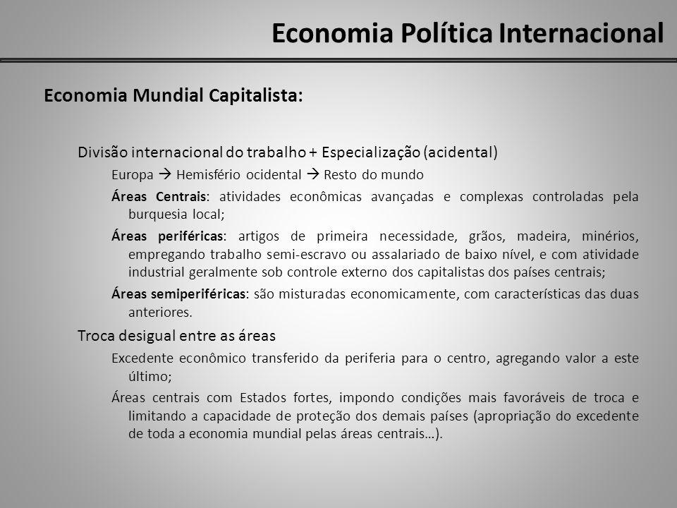 Economia Política Internacional Economia Mundial Capitalista: Divisão internacional do trabalho + Especialização (acidental) Europa Hemisfério ocident