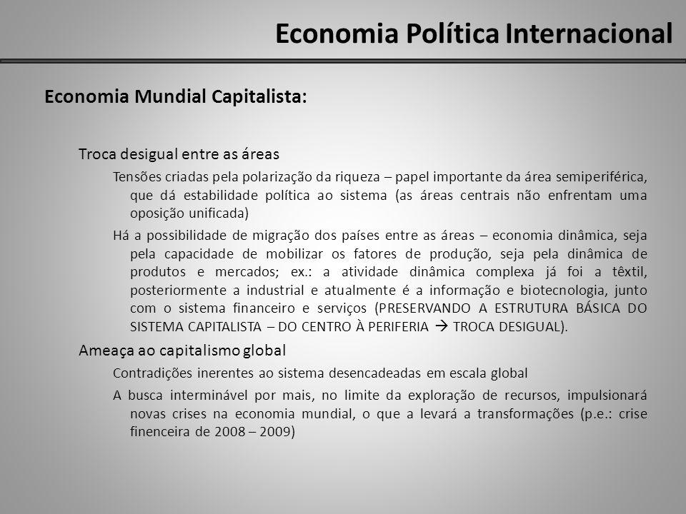 Economia Política Internacional Economia Mundial Capitalista: Troca desigual entre as áreas Tensões criadas pela polarização da riqueza – papel import