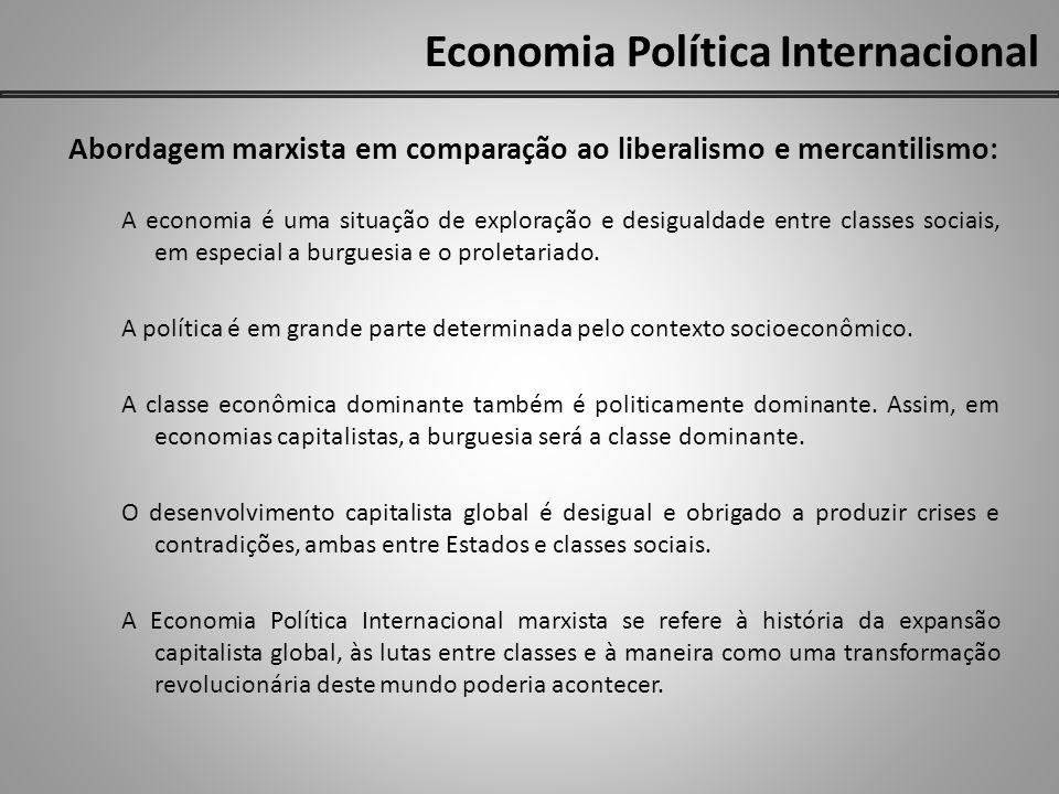 Economia Política Internacional Abordagem marxista em comparação ao liberalismo e mercantilismo: A economia é uma situação de exploração e desigualdade entre classes sociais, em especial a burguesia e o proletariado.