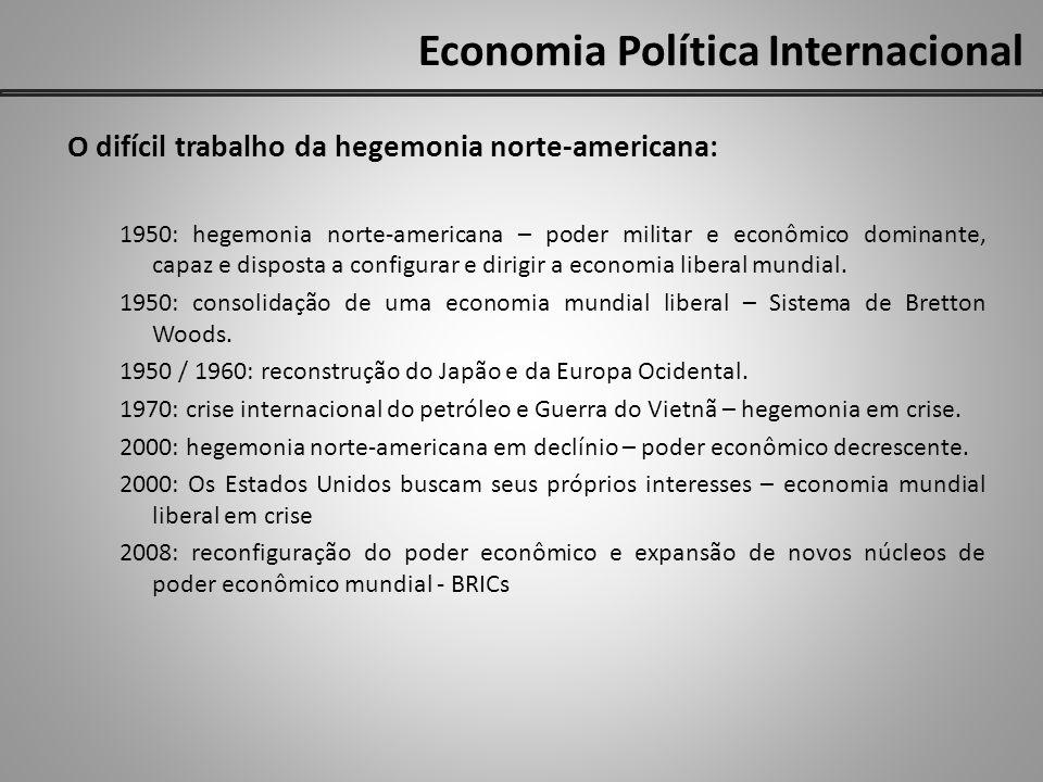 Economia Política Internacional O difícil trabalho da hegemonia norte-americana: 1950: hegemonia norte-americana – poder militar e econômico dominante
