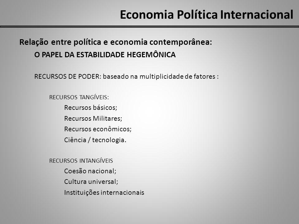 Economia Política Internacional Relação entre política e economia contemporânea: O PAPEL DA ESTABILIDADE HEGEMÔNICA RECURSOS DE PODER: baseado na mult
