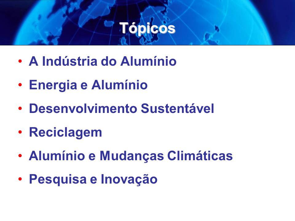 Tópicos A Indústria do Alumínio Energia e Alumínio Desenvolvimento Sustentável Reciclagem Alumínio e Mudanças Climáticas Pesquisa e Inovação