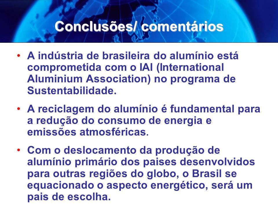 Conclusões/ comentários A indústria de brasileira do alumínio está comprometida com o IAI (International Aluminium Association) no programa de Sustentabilidade.