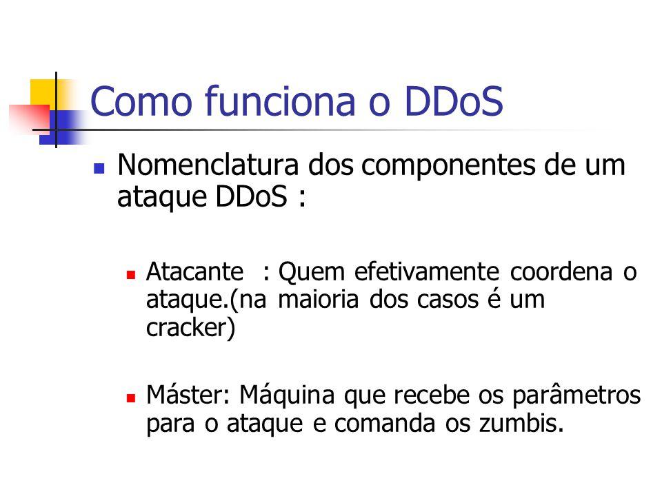Como funciona o DDoS Nomenclatura dos componentes de um ataque DDoS : Atacante : Quem efetivamente coordena o ataque.(na maioria dos casos é um cracke