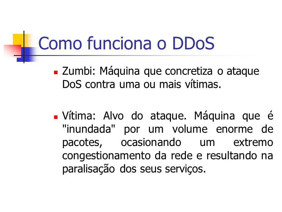 Como funciona o DDoS Zumbi: Máquina que concretiza o ataque DoS contra uma ou mais vítimas. Vítima: Alvo do ataque. Máquina que é