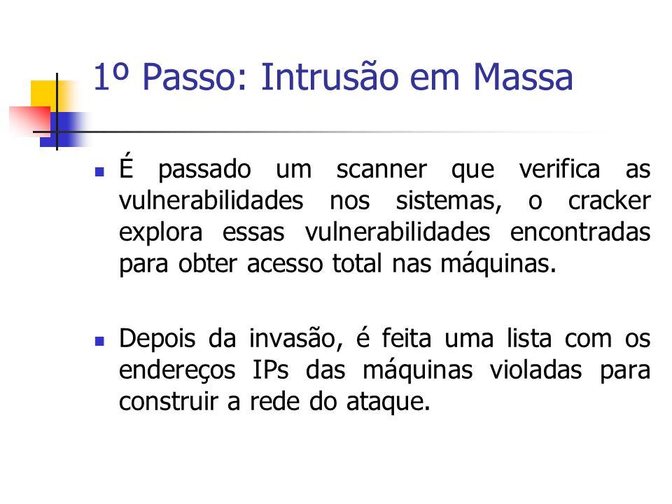 1º Passo: Intrusão em Massa É passado um scanner que verifica as vulnerabilidades nos sistemas, o cracker explora essas vulnerabilidades encontradas p