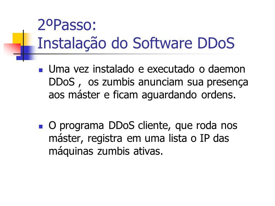 2ºPasso: Instalação do Software DDoS Uma vez instalado e executado o daemon DDoS, os zumbis anunciam sua presença aos máster e ficam aguardando ordens