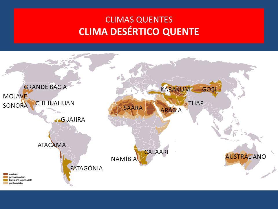 SAARA ARÁBIA CALAARI AUSTRALIANO NAMÍBIA ATACAMA GOBIKARAKUM MOJAVE SONORA GRANDE BACIA CHIHUAHUAN PATAGÓNIA GUAJIRA THAR CLIMAS QUENTES CLIMA DESÉRTI