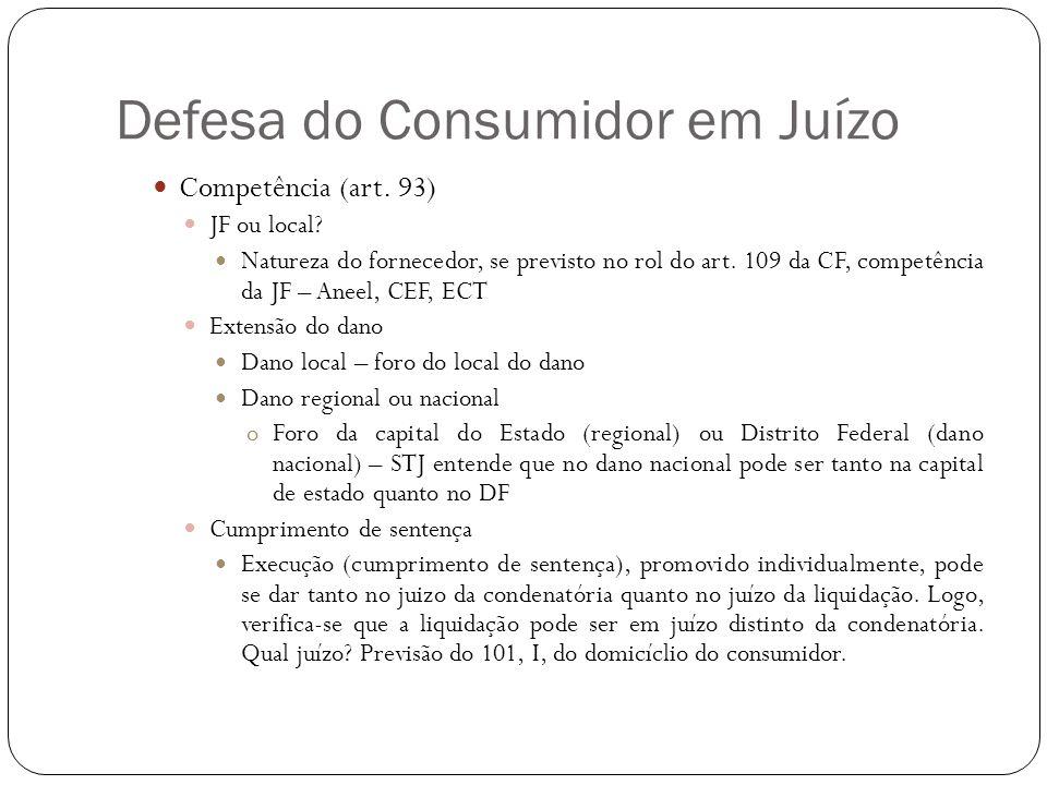 Defesa do Consumidor em Juízo Competência (art. 93) JF ou local? Natureza do fornecedor, se previsto no rol do art. 109 da CF, competência da JF – Ane