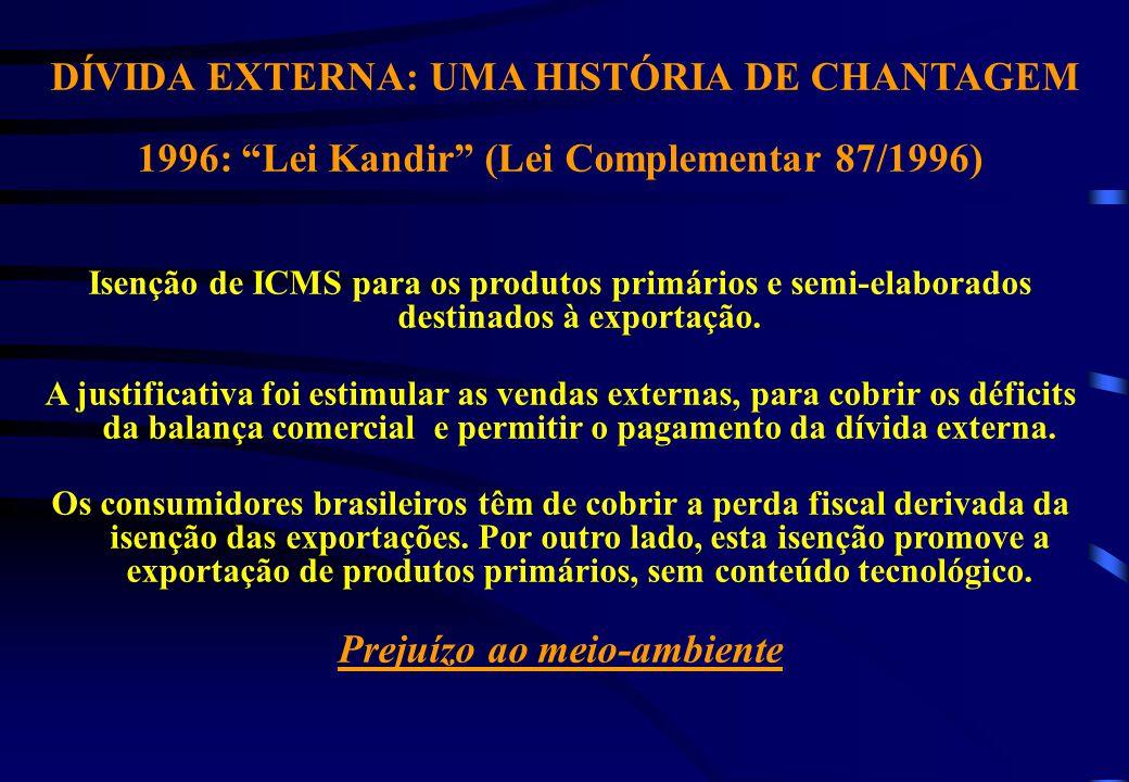 DÍVIDA EXTERNA: UMA HISTÓRIA DE CHANTAGEM 1996: Lei Kandir (Lei Complementar 87/1996) Isenção de ICMS para os produtos primários e semi-elaborados destinados à exportação.