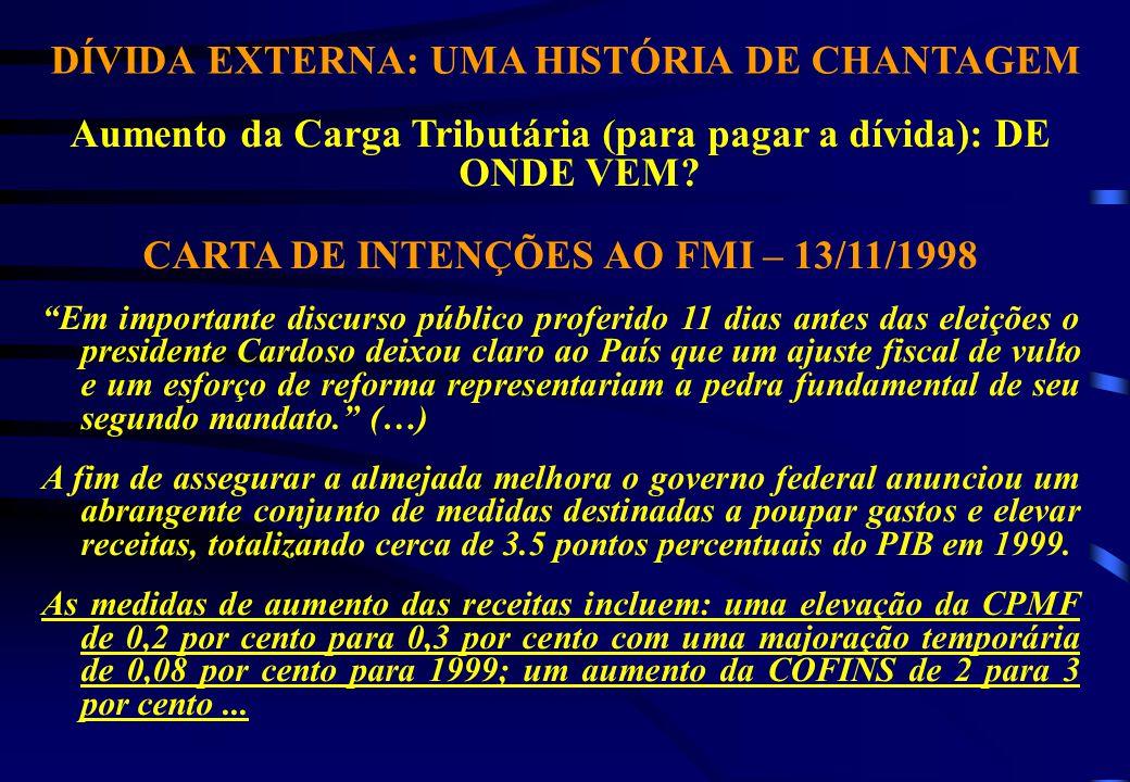 DÍVIDA EXTERNA: UMA HISTÓRIA DE CHANTAGEM Aumento da Carga Tributária (para pagar a dívida): DE ONDE VEM.
