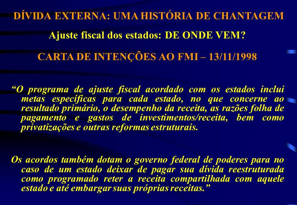 DÍVIDA EXTERNA: UMA HISTÓRIA DE CHANTAGEM Ajuste fiscal dos estados: DE ONDE VEM.