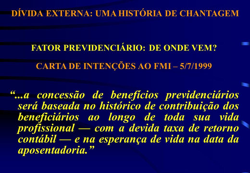 DÍVIDA EXTERNA: UMA HISTÓRIA DE CHANTAGEM FATOR PREVIDENCIÁRIO: DE ONDE VEM.