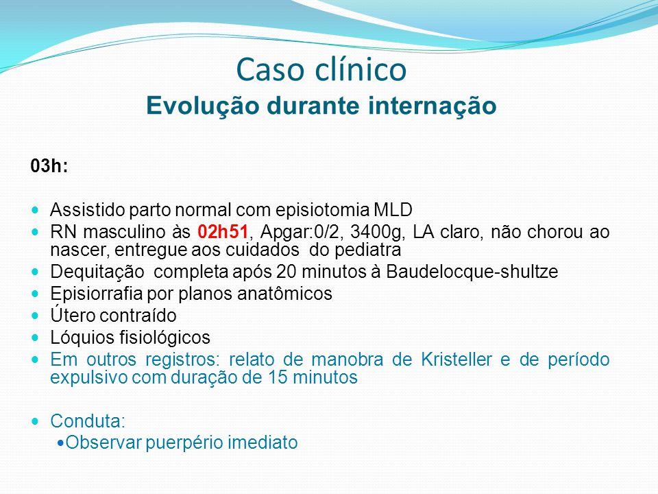 Caso clínico Evolução durante internação Registros às 07h40 (sistema inoperante durante a madrugada) Evolução das 4h30: Paciente recebendo hemotransfusão e medidas relatadas Agitada, mucosas hipocoradas ++++/4+, pulso fraco Palpação abdominal: impossível definir se o útero está contraído devido a agitação da paciente Inspeção perineal: sangramento de pequeno volume no forro TV: Ausência de coágulos, saída de sangue pelos genitais externos Perda de acesso venoso Hipótese Diagnóstica: Choque hipovolêmico Atonia uterina Laceração de colo.