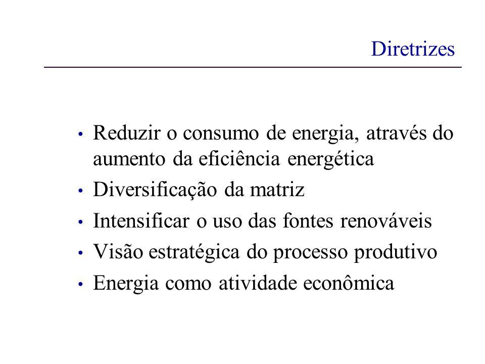 Diretrizes Reduzir o consumo de energia, através do aumento da eficiência energética Diversificação da matriz Intensificar o uso das fontes renováveis Visão estratégica do processo produtivo Energia como atividade econômica