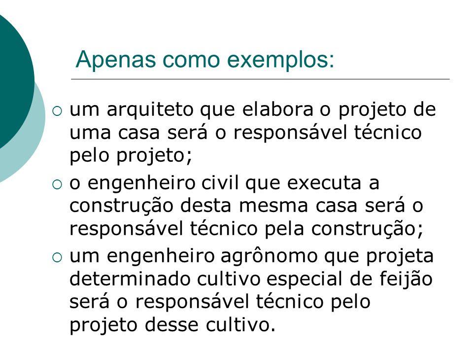 Apenas como exemplos: um arquiteto que elabora o projeto de uma casa será o responsável técnico pelo projeto; o engenheiro civil que executa a constru