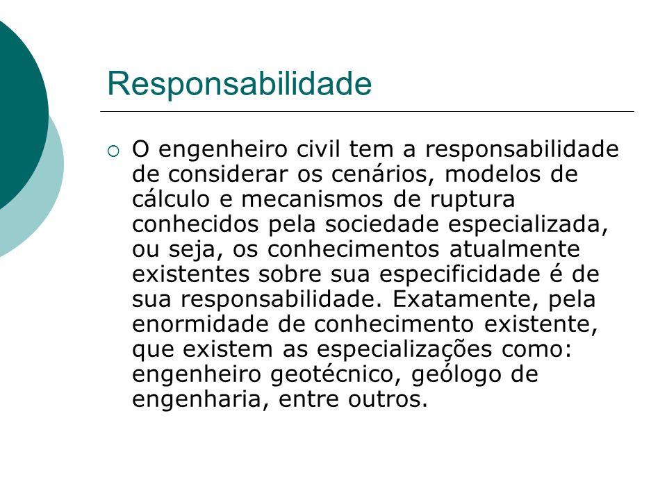 Responsabilidade O engenheiro civil tem a responsabilidade de considerar os cenários, modelos de cálculo e mecanismos de ruptura conhecidos pela socie