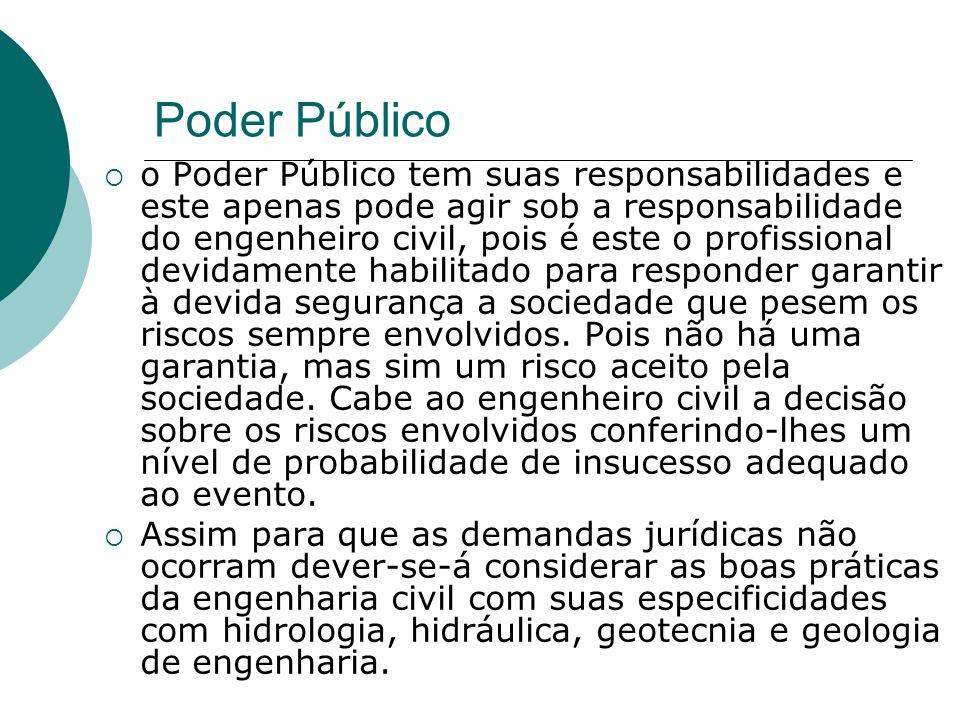 Poder Público o Poder Público tem suas responsabilidades e este apenas pode agir sob a responsabilidade do engenheiro civil, pois é este o profissiona